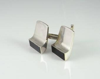 Aerodynamic Unique One of a Kind Cufflinks Mid Century Cufflinks Onyx Sterling Silver Cuff Links Cufflinks Modernist Cufflinks R2701