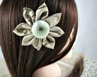 Embroidered Hair Flower with Antique Button Embellishment