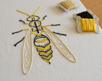 Anatomical Wasp modern hand embroidery pattern - modern embroidery PDF pattern, digital download