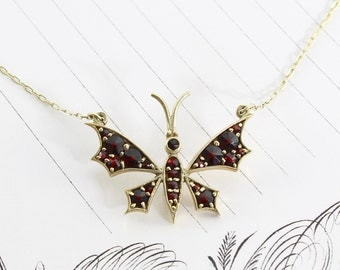 Vintage 14k & Garnet Butterfly Pendant Necklace, Yellow Gold Bohemian Nature Lover Bride, Bridal Girlfriend Gift, January Birthstone Jewelry