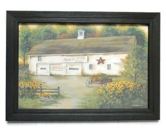 Sunflowers, Calebs Sunflower Farm, Barn, Primitive Picture, Art Print, Wall Hanging, Handmade, 21X15, Custom Wood Frame,  Made in the USA