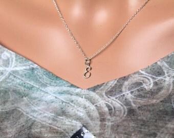 Sterling Silver Cursive E Initial Necklace,  E Letter Necklace, Cursive E Initial Necklace, Silver E Letter Necklace, E Letter Necklace