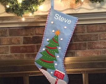 Christmas Tree Applique Felt Christmas stocking, Applique Christmas stockings, Christmas Tree stockings, Christmas stocking, Felt Stockings