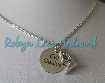 Evil Genius Engraved Disc Charm Necklace with 3D Silver Microscope Charm on Silver Crossed Chain or Black Faux Suede Cord