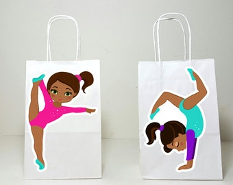 Gymnastics Goody Bags, Gymnastics Favor Bags, Gymnastics Handstand - African American Gymnasts, (3917340A / 9416101A)