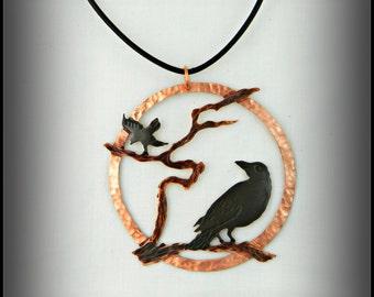 crow pendant, crow jewelry, raven necklace, blackbird necklace, goth raven, copper patina, metal sculpture, wearable art, goth crow, corvus