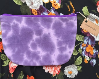 Speckled Purple Zipper Pouch//Hand-Dyed