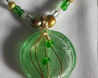 Green and Gold 18 Inch Necklace