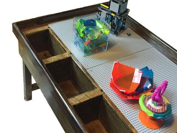 2 or 3 bin custom lego duplo storage table wood kids lego. Black Bedroom Furniture Sets. Home Design Ideas