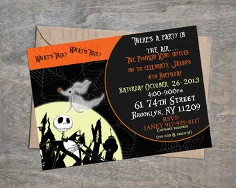 The Nightmare Before Christmas Jack Skellington  digital and printable invite! Halloween or birthday party invitation! Your choice!