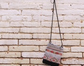 Small tribal crossbody bag,ethnic bag,Navajo,small shoulder bag,upholstery,synthetic leather,handmade,red and black,gift for her, for girls