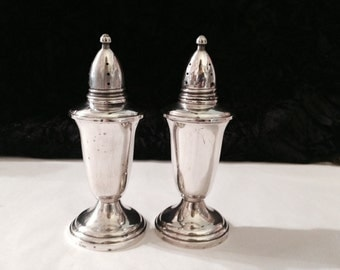 Vintage Crown Weighted Sterling Salt and Pepper Shakers