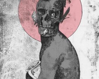 Vanitas-Digitally Coloured Monoprint/ Monotype
