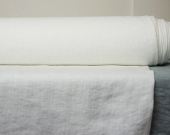 Thin pure 100% linen FABRIC 130gsm,  off-white color. Washed, dense, soft crumpled fabric for light clothes.