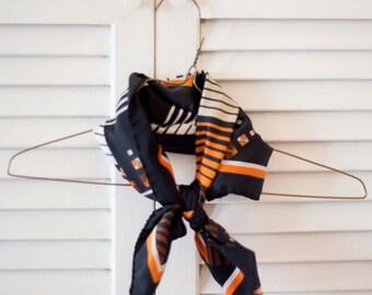 Women's Orange Patterned Striped Silk Scarf