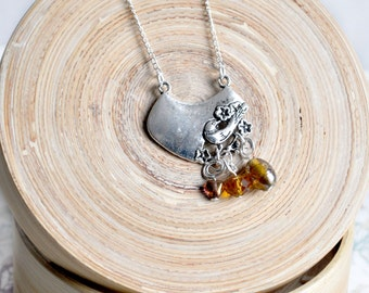 Silver bird necklace, amber bead necklace, bird charm necklace, amber bird pendant, silver charm necklace, amber necklace, bird jewellery