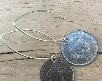 Costa Rica Coin Drop  Earrings