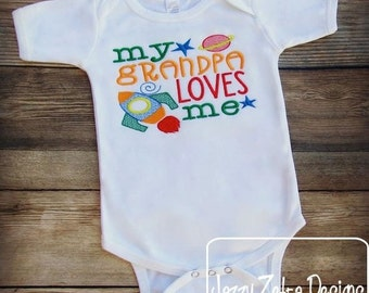 My grandpa loves me saying embroidery design - grandpa embroidery design - grandfather embroidery design - granddad embroidery design