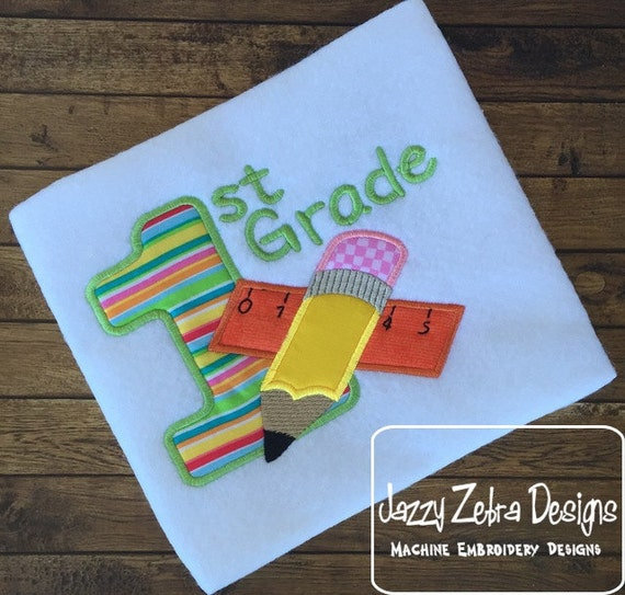 1st Grade Pencil and Ruler Appliqué Embroidery Design - 1st grade applique design - school appliqué design - teacher appliqué design