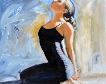 "Yoga Oil Painting ""Surrender"" Woman Letting Go Happy Original Art by Tina Petersen"