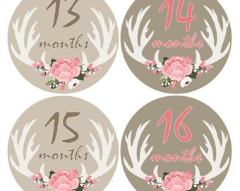 Baby monthly stickers, Deer Stickers, Antlers, Hunting, Flowers baby stickers, Bodysuit monthly stickers, Baby Girl Month sticker A124