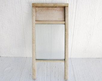 Antique Washboard, Vintage Small Glass Washboard, Primitive or Rustic Farmhouse Decor, Laundry Room Decor