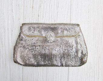 Vintage Whiting Davis Silver Mesh Clutch Purse with Rhinestones, Art Deco Purse, Evening Bag, Whiting & Davis Silver Clutch, Antique Purse
