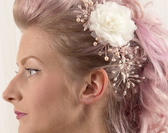 Rose Gold Pink & Ivory Pearls with Flower