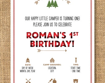 Boys Camp Themed Birthday Invitation - Printable