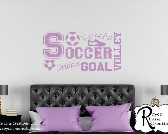 Soccer Wall Decal for Girls Room B32 Teen Girl Bedroom Teen Room Decor Soccer Word Art for Girls Bedroom