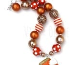 Pumpkin Pie Chunky Necklace-Thanksgiving Jewelry-Fall Necklace-Eat Pie-Holiday Accessories-Food Jewelry-Food Necklace-Orange - Tan - Brown