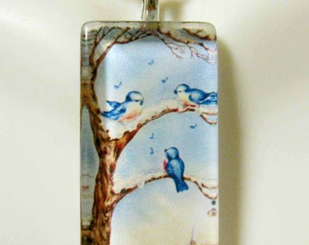 Bluebirds in Snowy Tree pendant and chain - BGP12-001