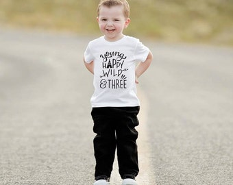Young Wild and Three Birthday Shirt 3rd Birthday Shirt Wild and Three Third Birthday Shirt Arrow birthday shirt Birthday shirt TeePee