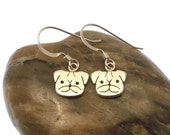 Sterling Silver Pug Earrings - Dog Earrings - Pug Jewellery - Animal Earrings