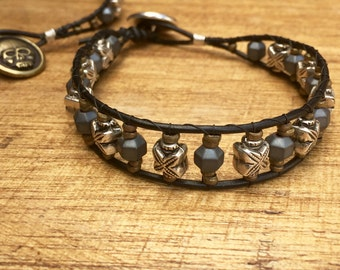 Rocker bracelet, leather bracelet, mens bracelet, rockstar bracelet, bracelet, jewelry, leather bracelet, rockstar, biker bracelet, skull