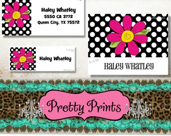 Flower Stickers, School Labels, Back to School, Pink, Daisy, Personalized Stickers, Personalized Labels, Flower Labels, Tags