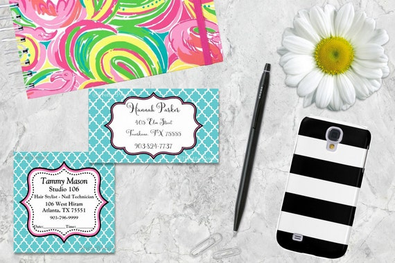 Gift Tags, Blue, Quatrefoil, Pink, Tags, Business Cards, Calling Cards, Appointment Cards, Personalized Gift Tags
