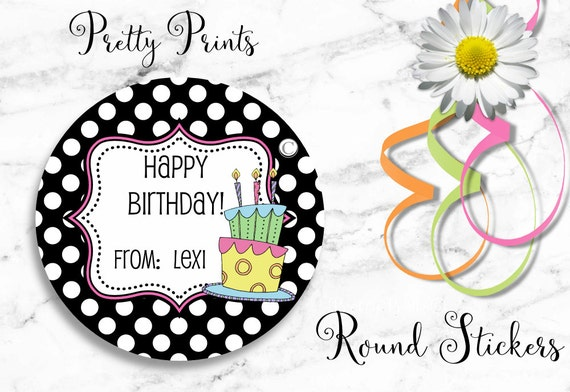 Birthday Stickers - Personalized Stickers - Dots - Set of 12 Round Labels - Personalized Labels, Tags, Stickers, Gift tags, Birthday Cake