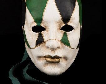 Venetian Mask | Black and Green Checked Face