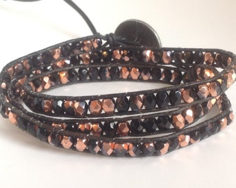 Black and copper Czech glass beaded bohemian leather triple wrap bracelet