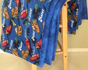 Large Blanket, Cars Style (Adult or Child) - Flannel & Cotton Fabric - Perfect Gift - Disney, Pixar, Lightning McQueen, Mater, Finn, Sally