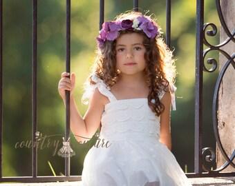 Purple Floral Hair Halo , Boho Floral Hair Wreath, Floral Hair Garland, Flower Hair Wreath, Boho Headband, Halo Headband, Rustic Headband