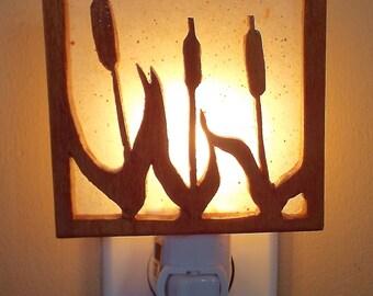 Wooden Cattail Nightlight, Beach Nightlight, Shadow Nightlight, Handmade Night Light