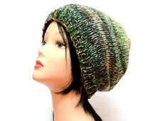Green beanie, slouchy beanie women, Birthday gifts, knitting hats, winter hat men, Chunky Knit hat, gift for aunt, mohair hat