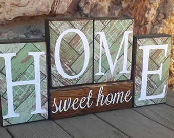 Home Sweet Home, Handmade Wood Decor, Rustic Decor, Housewarming Gift, Home Decor, Block Set