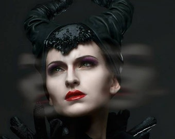 Maleficent movie inspired headpiece made to order (black)