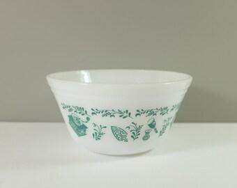 Vintage Turquoise Glass Bowl Federal Milk Glass Nesting Bowls Teal Utensil Pattern
