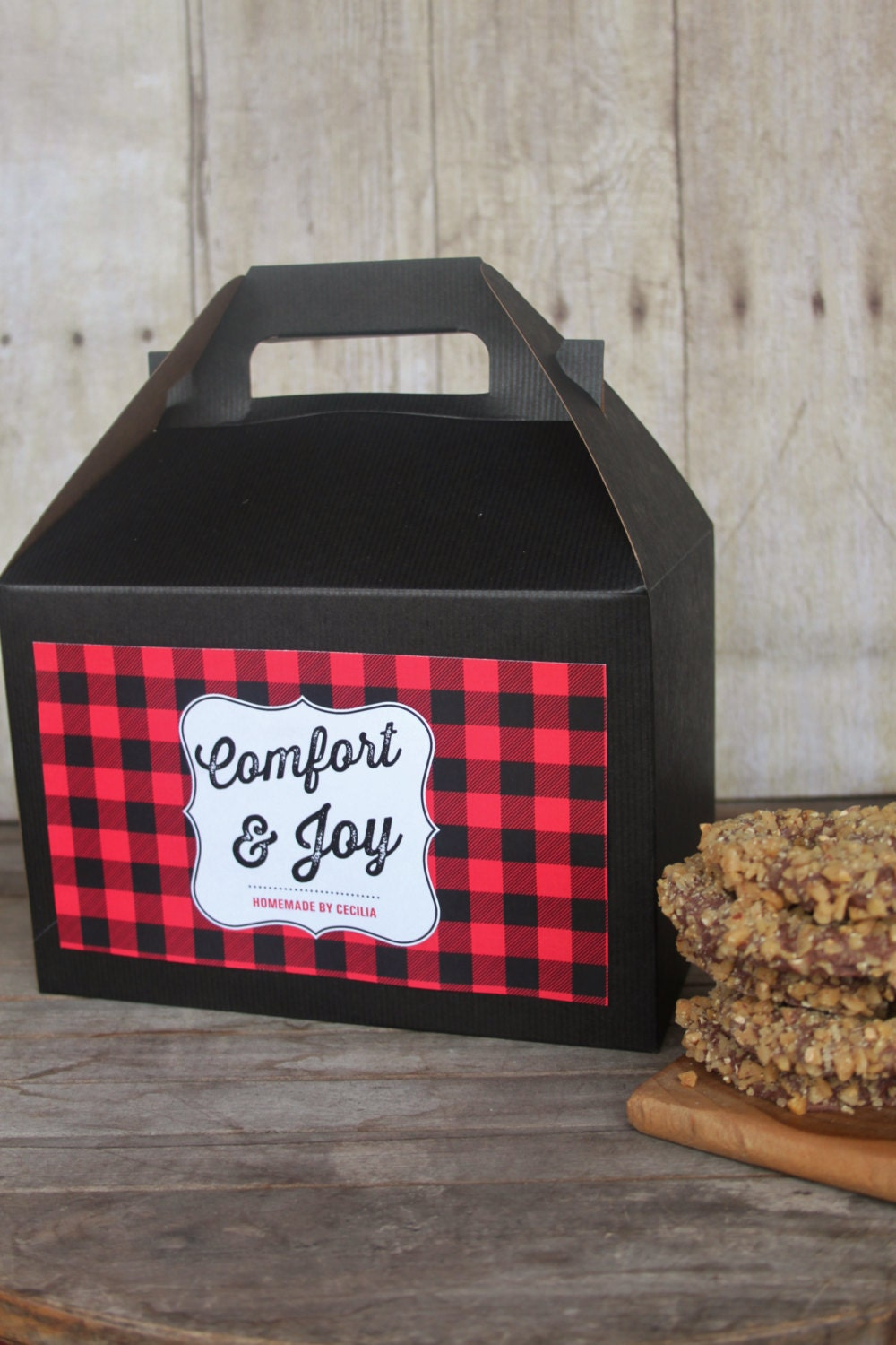 10 gable boxes in buffalo plaid baking baked christmas for Black box container studios