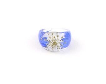 Nature ring, Real flower Resin ring, Resin ring, Pressed flower jewelry, Flower in resin, Botanical ring, Eco resin ring, Jewellery