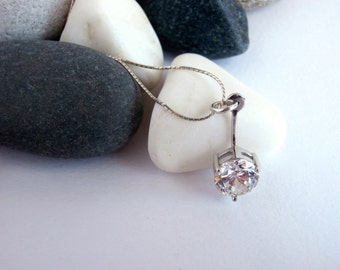 Cubic Zirconia Necklace - Vintage Jewellery - Sterling Silver Necklace